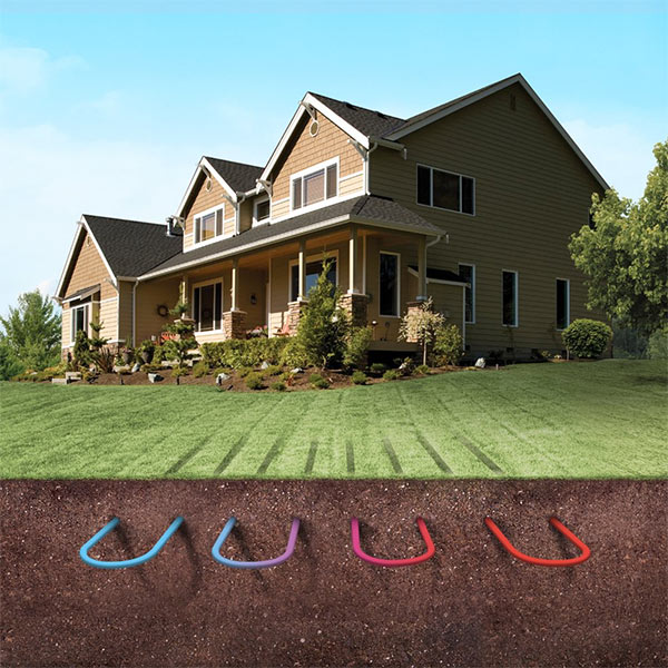 Image depicting a geothermal system underground near a home