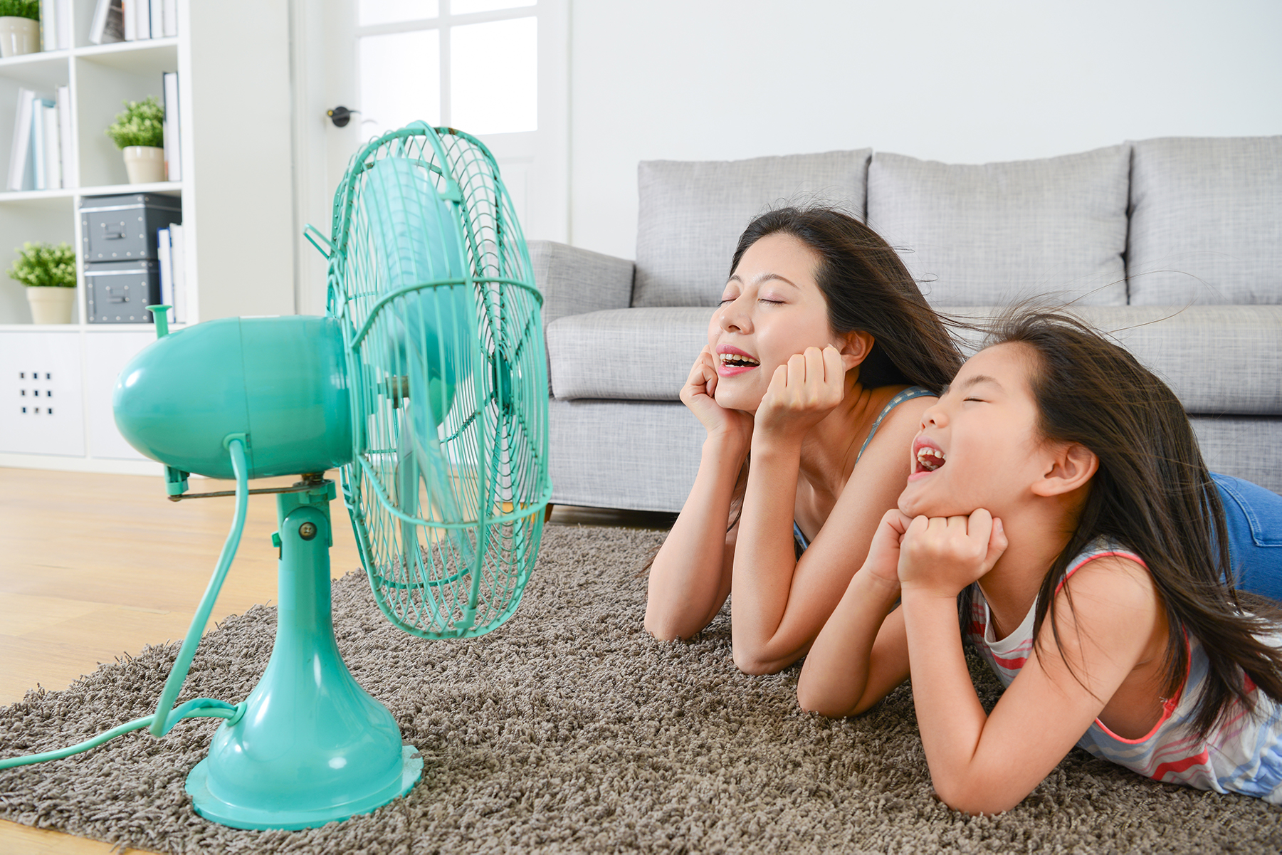 Woman and Child with Fan